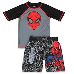d449f7c01d846 Spider-Man Boys Swim Trunks and Rash Guard Set (4