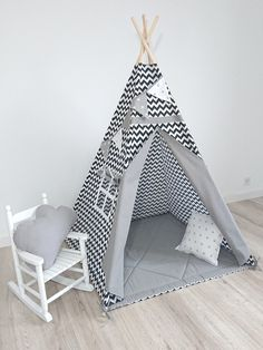 Christmas Gift Teepee, Teepee with mat and two pillows, Childrens Teepee, Xmas gift for kids Toddler Teepee, Childrens Teepee, Kids Teepee Tent, Toddler Bed, On The Beach, Xmas Gifts For Kids, Indian Teepee, White Kids Room, Black And White Fabric