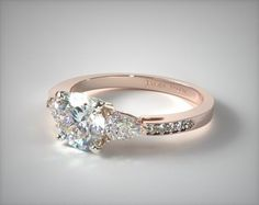 41345 engagement rings, three stone, 14k rose gold three stone pear and pave set diamond engagement ring item - Mobile