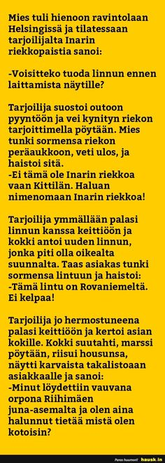 Mies tuli hienoon ravintolaan Helsingissä ja... - HAUSK.in Funny Photos, Funny Texts, Finland, Jokes, Fanny Pics, Husky Jokes, Moon Moon, Animal Jokes, Funny Texts Jokes