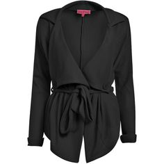 Boohoo Caroline Short Textured Belted Trench (440 MXN) ❤ liked on Polyvore featuring outerwear, jackets, cardigans, coats and trench coat