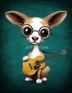 Chihuahua Puppy Dog Playing Old Acoustic Guitar Teal | Jeff Bartels