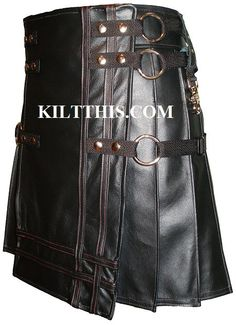 Utility+Kilt+Black+Leather+Kilt+The+Double+Cross+by+KiltThis,+$520.00