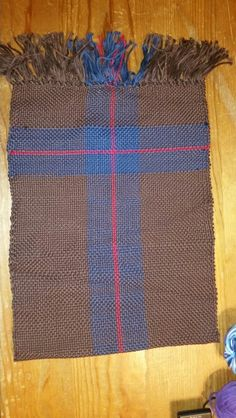 Warp: brown, blue and red yarns Weft: same 100% cotton