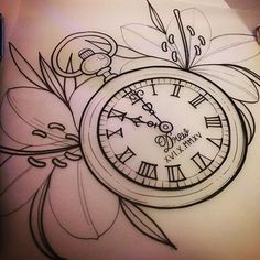 I added leaves to the flowers out of habit, I can leave them off but it's just not in my nature… Baby Tattoos, Girly Tattoos, Life Tattoos, Body Art Tattoos, Small Tattoos, Clock Tattoos, Lily Tattoo Design, Clock Tattoo Design, Flower Tattoo Designs