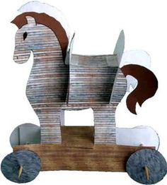 Ancient History Greece - Trojan Horse Paper Craft-- this was not my favorite craft ever. My boys really couldn't assemble them on their own at all. I'm not a huge fan of crafts I pretty much have to do for them. Trojan Horse, Trojan War, Ancient Greek Art, Ancient History, Egyptian Art, Art History, Ancient Greece Crafts, Greece Party, Horse Template