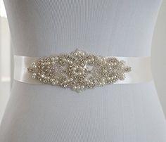 SoarDream Bridal Sash Wedding Belt Bridal Belts And Sashes Ivory >>> You can find more details by visiting the image link. (Note:Amazon affiliate link) #WeddingDresses
