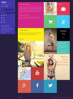 Stack is a responsive and colorful WordPress portfolio theme from Themify. This theme work seamlessly with the Tiles Addon that allows you to create amazing metro designed layouts Theme Words, Metro Style, Premium Wordpress Themes, Layout Design