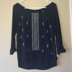 Hollister shirt with colorful design w sheer front Never worn Hollister Tops Tees - Long Sleeve