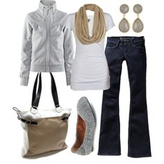 "cute n casual - ""tan & grey"" by htotheb on Polyvore"