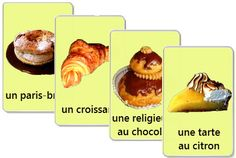 Video plus Free Printable Flashcards to learn French language - Cakes and Desserts vocabulary - My English Teacher, French Teacher, Teaching French, French Language Lessons, French Language Learning, French Lessons, French Cake, French Food, French Stuff