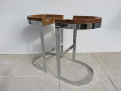 Pair Of Modern 1970's Warren Bacon Chrome And Wood Bar Stools.
