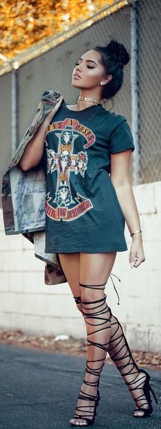 Edgy fashion | Band shirt dress and laced up heeled sandals