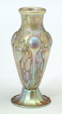 Quezal Art Glass and Decorating Company (1901-1924), Applied Iridescent Glass Vase | JV