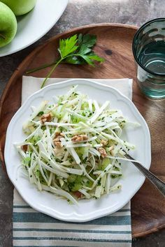 A light and healthy Celery Root and Apple Salad  gourmandeinthekitchen.com