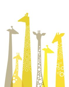giraffes. love this if i have yellow and grey animal nursery