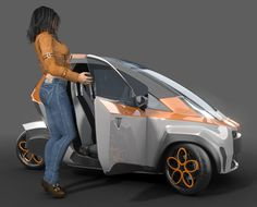 μrban (read: murban) is a three-wheel concept car that uses small wheels and electric drive system.