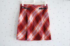60s mod vintage plaid skirt / red pleated tartan / girls M womens XXS. $15.00, via Etsy.