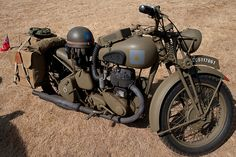 Captured at the Arlington Fly In. Which is an air show / old military vehicles. Please add a note and let me now about this motorcycle and thing on it, like the box on top of the fuel tank . Norton Motorcycle, Scooter Motorcycle, Motorcycle Rallies, Antique Motorcycles, British Motorcycles, Indian Motorcycles, Custom Motorcycles, Motorcycle Wallpaper, Army Vehicles