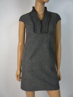 47d992aa6878 Ann Taylor Loft Gray Woven Wool Pintuck Cap Slv Sheath Dress 00 Petite NEW  A754