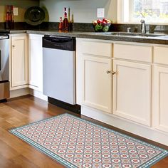 Vinyl floor mat with decorative tiles pattern in blue. Spanish style area rug, kitchen rug, printed on PVC. Spanish Style Bathrooms, Spanish Tile, Spanish Style Homes, Vinyl Floor Mat, Vinyl Rug, Floor Mats, Kitchen Rug, Kitchen Flooring, Linoleum Flooring