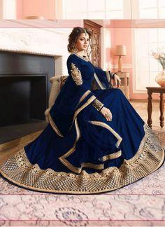 New Drashti Dhami Heavy Embroidered Dark Blue Long #Anarkali_Suit
