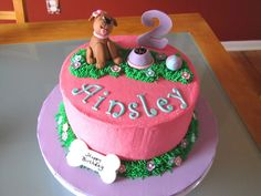 Dog-Themed 2Nd Birthday Cake This is the girl version of the 2nd birthday cake I made for my son last year. Customer wanted it for her...