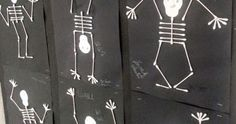 Using cotton swabs, 3rd grade students constructed skeletons in an action pose based off the book Skeleton Hiccups by Margery Cuyler. ...