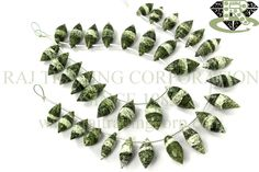 Green Zebra Jasper Faceted Dew Drops (Quality A) Shape: Dew Drops Faceted Length: 18 cm Weight Approx: 19 to 21 Grms. Size Approx: 7x13 to 9x20 mm Price $40.00 Each Strand