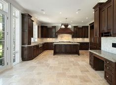 Image result for stone with dark kitchen cabinets