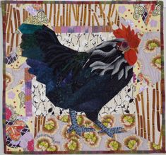 Black cock with geranium leaves by Ruth B McDowell