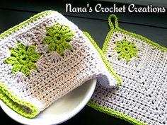 """Nana's """"Retro Square Potholder"""" by Des Maunz. A little bit of nostalgia for the kitchen. :)"""