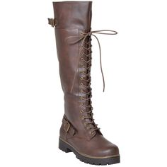 Womens Lace Up Combat Knee High Boots Brown