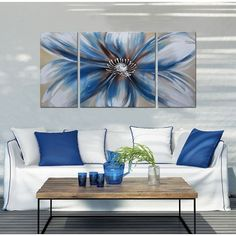 Shop for Handpainted 'Abstract Flower Multicolored Gallery-wrapped Canvas Art Set. Get free delivery On EVERYTHING* Overstock - Your Online Art Gallery Store! Long Painting, Hand Painting Art, Living Room Canvas, Living Room Art, 3 Piece Canvas Art, Above Couch, Flower Canvas, Home Interior, Interior Design