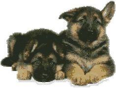 cross stitch kit 2 german shepherd puppies - Folksy