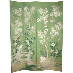 Apple green four panel Chinese wallpaper screen