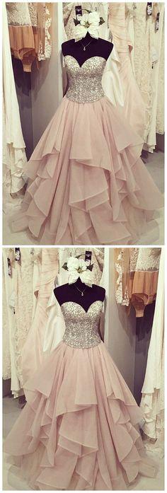 Organza A line Evening Prom Dresses, Long Beaded Party Prom Dress, Custom Long Prom Dresses, Cheap Formal Prom Dresses, 17054  #prom #promdress #promdresses #2018prom #lacepromdress #sposadresses #longpromdresses #cheappromdresses