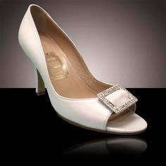 Bethany - White pearl, soft leather peep toes, decorated with a strass square buckle