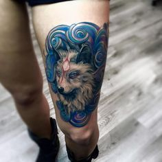 Wolf tattoo, watercolor tattoo, lupo tatuaggio, blue tattoo, realistic tattoo, waves, realistic wolf, draw, tatuaggio realistico, art, leg, leg tattoo, tatuaggio gamba, tattoo by Edwin Basha