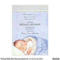 Vintage Baby Boy Announcement Blue & Ivory Lace