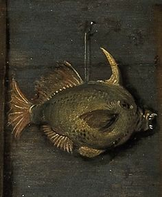 A mean-looking tropical fish lurks above, detail from Kunstkammer by Flemish artist Frans FranckenII, 1636