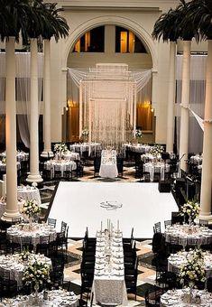 black + white wedding inspiration | grand wedding reception |
