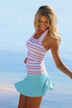 Add swim leggings for modesty, maybe add a half tee too.