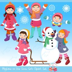 Playtime in the Snow (Girls) Clipart Set