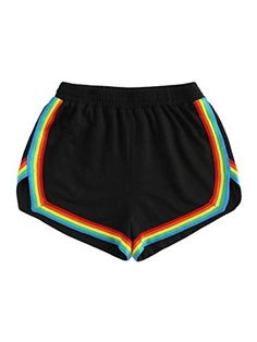 SheIn offers Rainbow Tape Trim Dolphin Shorts & more to fit your fashionable needs. Girls Fashion Clothes, Teen Fashion Outfits, Fashion Women, High Fashion, Women's Fashion, Yoga Shorts, Workout Shorts, Stretch Shorts, Loose Shorts