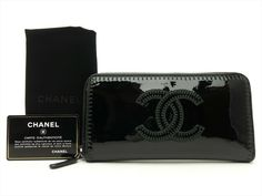 ff67f89ebaa6 CHANEL Authentic CC Leather Black Clutch Zip Around Purse Wallet Auth # CHANEL #Clutch
