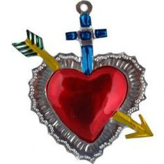 Mexican Folk Art Tin painted red heart & cross from MexicanTiles.com