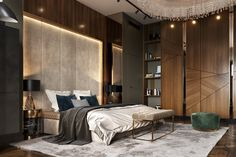 The master bedroom combines the nutty shades of wooden wall panels, sashes of a massive and capacious closet by David Weeks studio and deep green-gray shades, underlined by brass framing. ~ The master Modern Luxury Bedroom, Master Bedroom Interior, Luxury Bedroom Design, Bedroom Furniture Design, Master Bedroom Design, Luxurious Bedrooms, Home Interior, Home Decor Bedroom, Luxury Interior