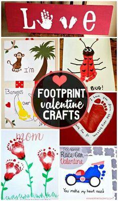 Toddler baby footprint Valentine crafts