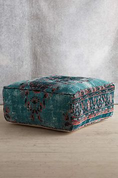 Anthropologie EU Alanya Pouf. Inspired by traditional Turkish rugs and re-imagined in washed velvet, this pouf provides a stylish option for extra seating.